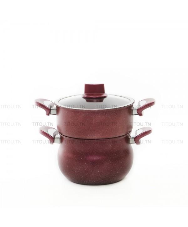 Couscoussier Granite 4,5 Litres - Rouge bordeaux