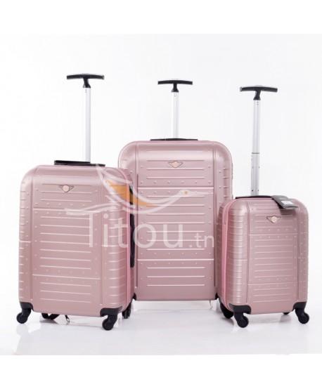 Set de trois valises - Amor - Rose poudre