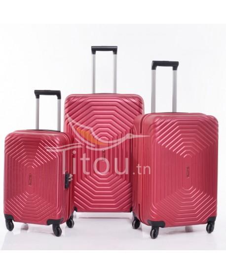 Set de trois valises - invictus - Rouge bordeaux