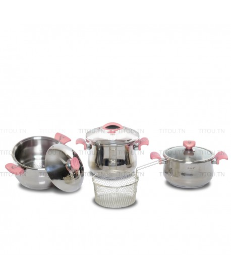 Pack Cocotte 7pcs OMS inox 18/10  - Rose