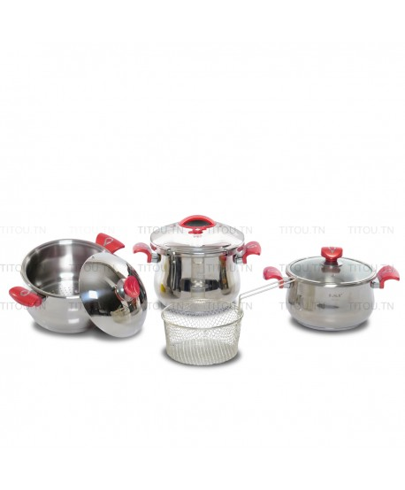 Pack Cocotte 7pcs OMS inox 18/10  - Rouge