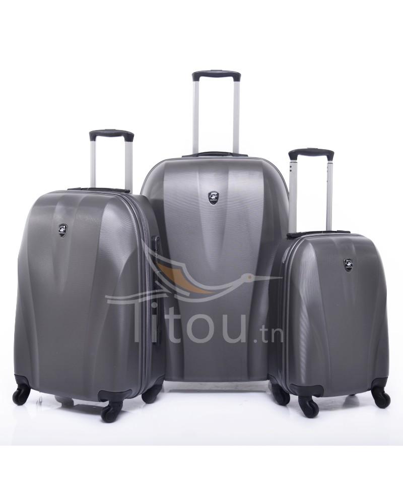 Set de trois valises polo club - Cappadocia - Gris charbon
