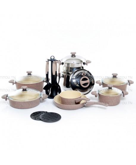 Batterie granite OMS collection 22 pièces - Marron