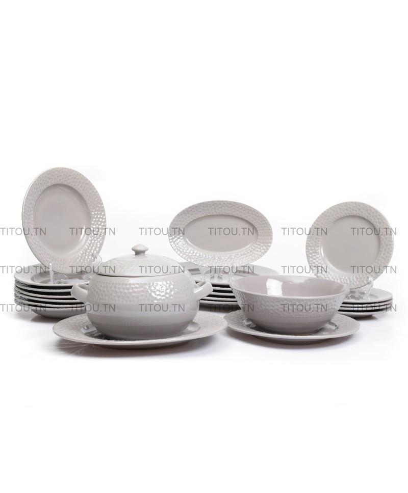 Service à table martelé Hamila stoneware - Gris