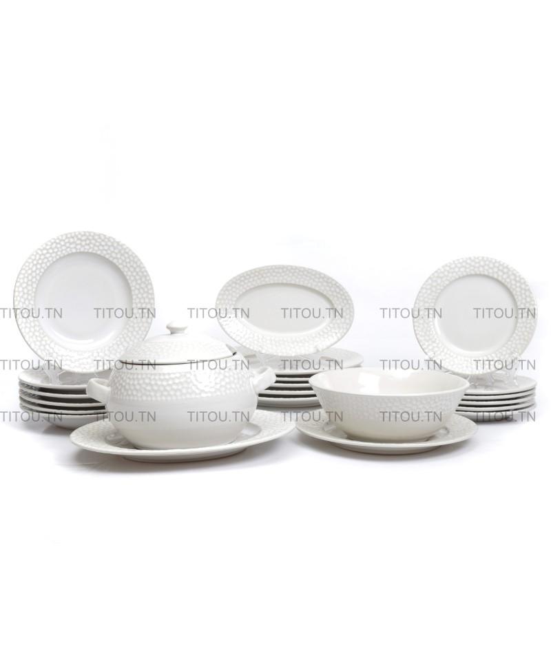 Service à table martelé Hamila stoneware - Blanc