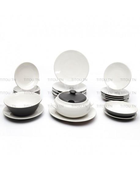Service à table Sierra hamlia stoneware - Blanc noir
