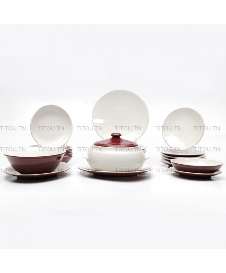 Service à table Sierra 22pcs hamlia stoneware - Blanc rouge