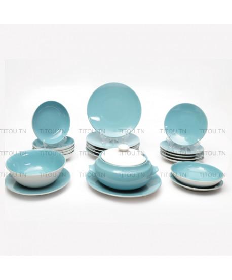 Service à table Sierra 22pcs hamila stoneware - Turquoise Blanc