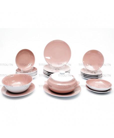Service à table Sierra 22pcs hamila stoneware - Rose Blanc
