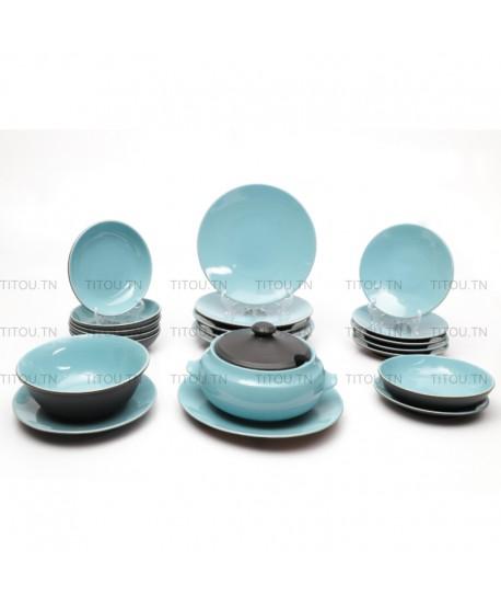 Service à table Sierra 22pcs hamila stoneware - Bleu noire