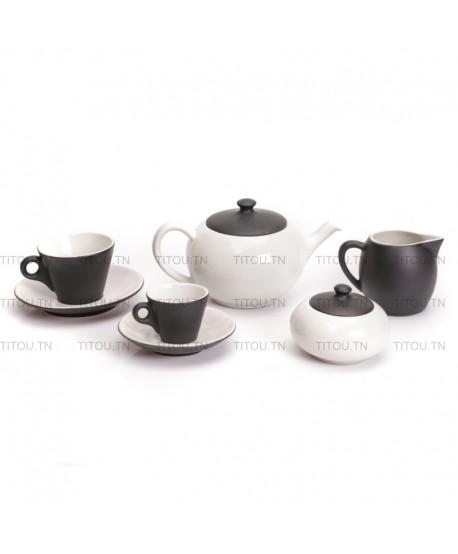 Service café Sierra 29pcs hamila stoneware - Blanc noire