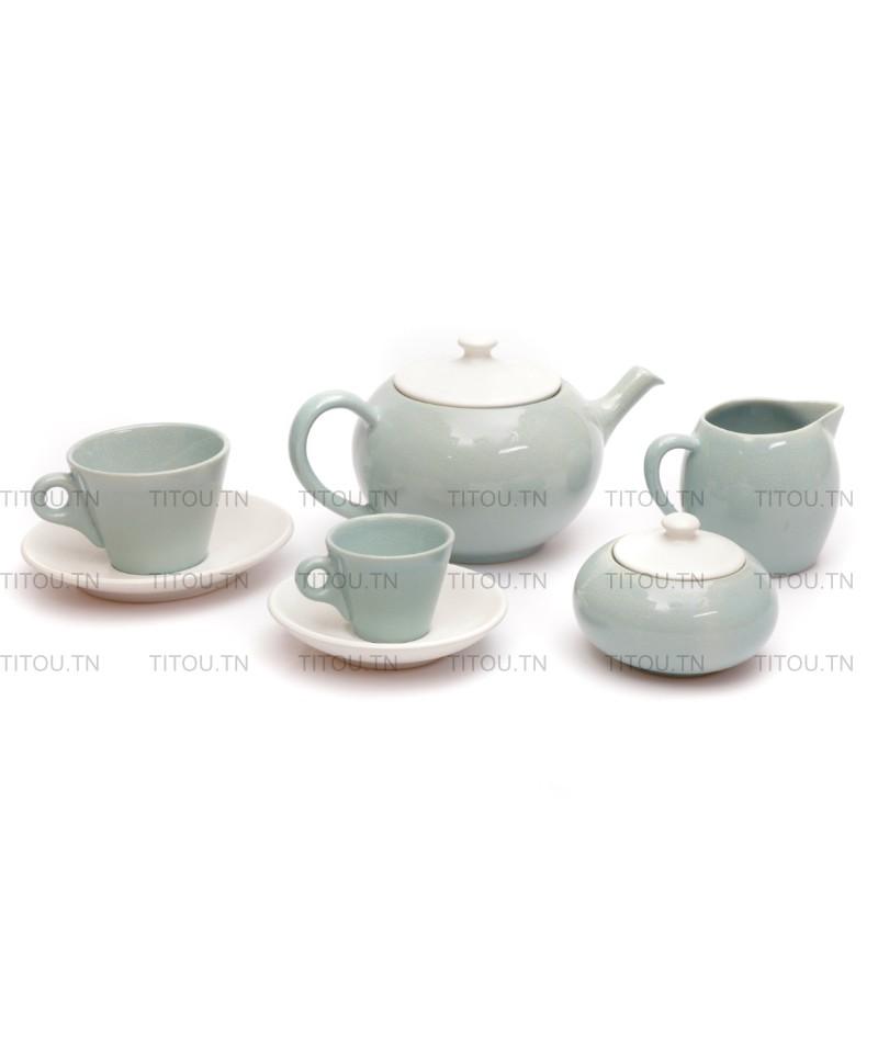 Service café Sierra 29pcs hamila stoneware - Turquoise blanc