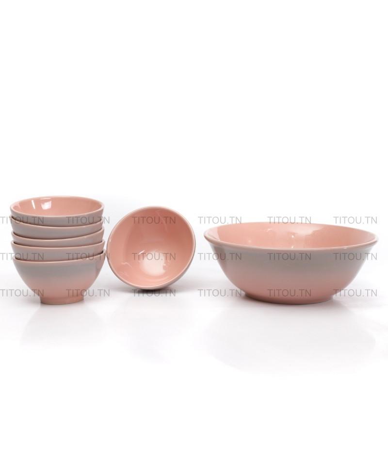 set bowls 7 pcs hamila stoneware - Rose gris