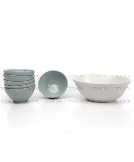 set bowls 7 pcs hamila stoneware - Vert marron