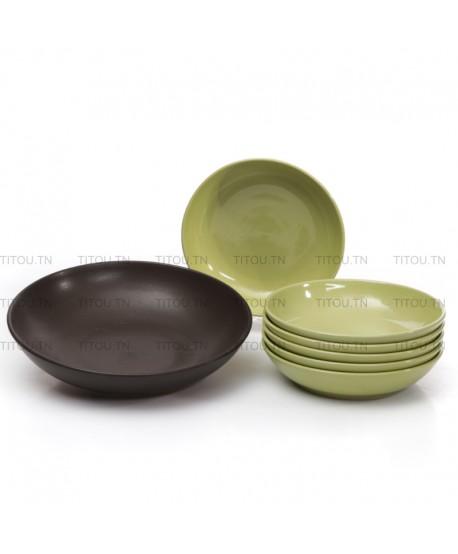 set couscous 7pcs hamila stoneware - Vert marron