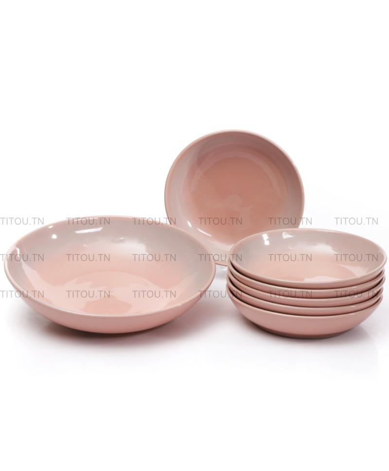 set couscous 7pcs hamila stoneware - Rose gris