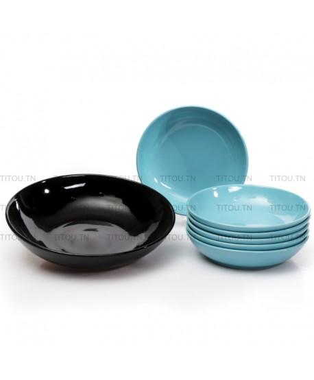 set couscous 7pcs hamila stoneware - Bleu noire