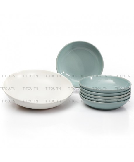 set couscous 7pcs hamila stoneware - Turquoise blanc