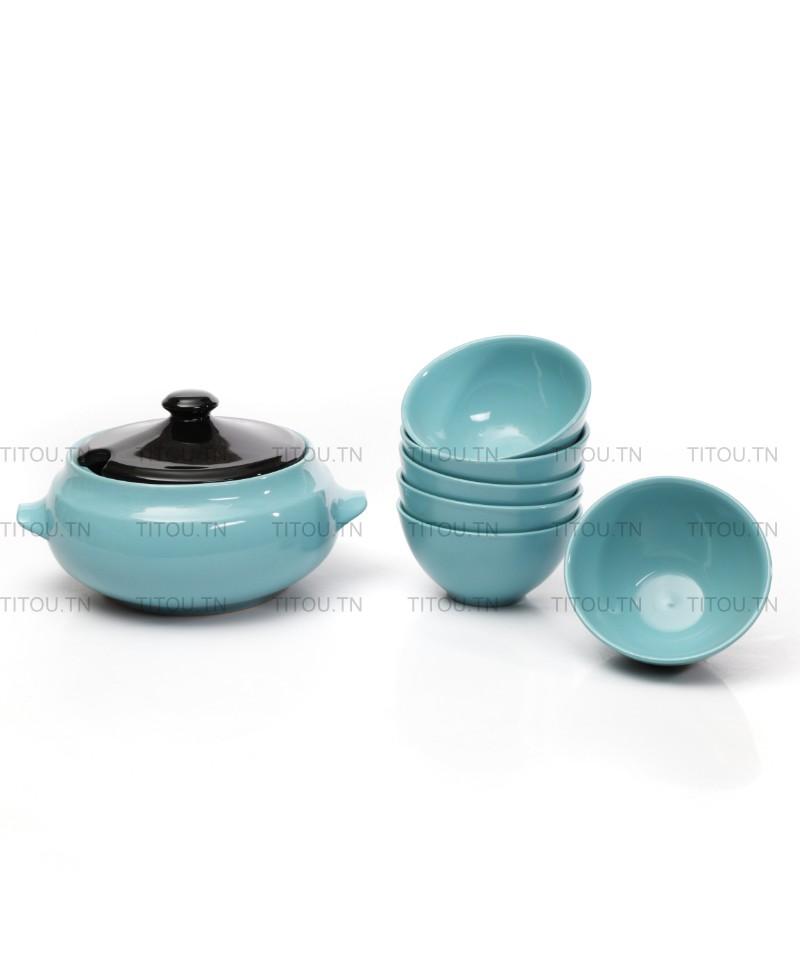 Service soupe 7pcs hamila stoneware - Bleu noire