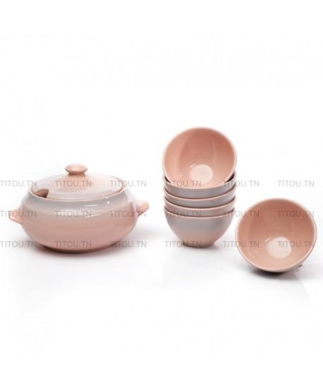 copy of Service soupe 7pcs hamila stoneware - Rose gris