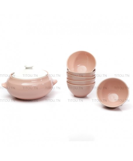Service soupe 7pcs hamila stoneware - Rose Blanc