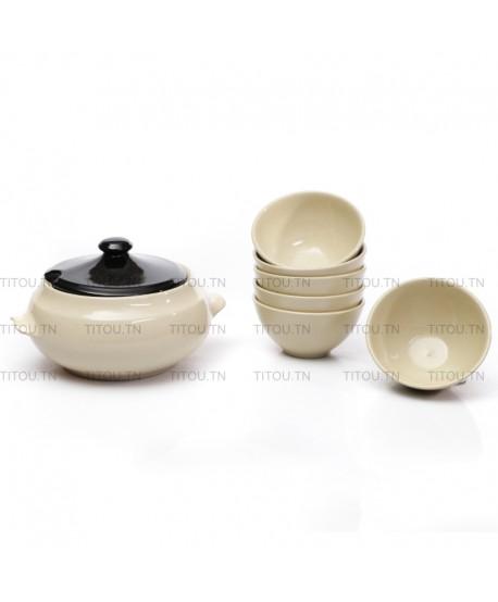 Service soupe 7pcs hamila stoneware - Beige noire