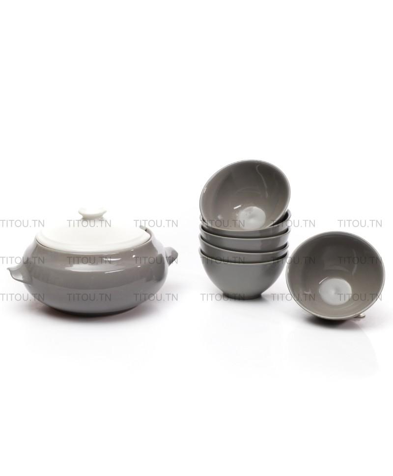 Service soupe 7pcs hamila stoneware - gris blanc