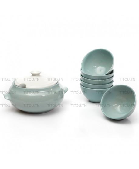 Service soupe 7pcs hamila stoneware - Turquoise blanc